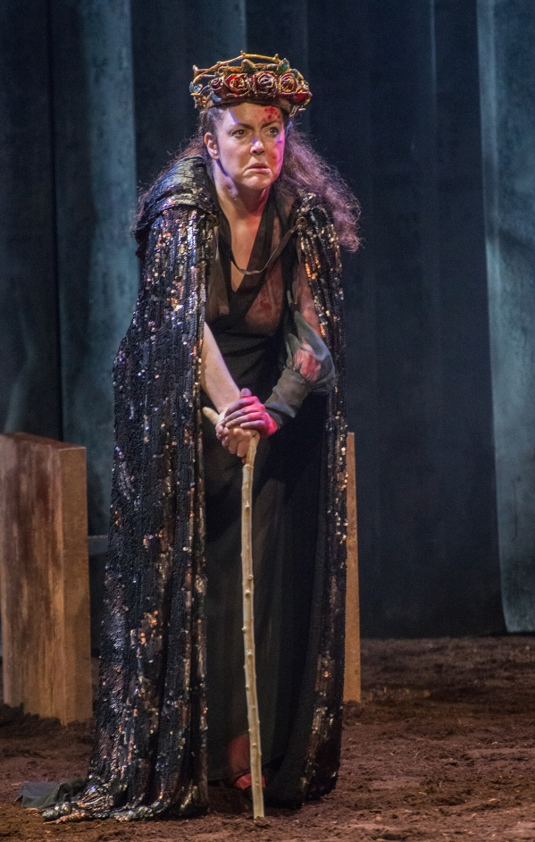 Derbhle Crotty as King Henry IV in The Lincoln Center Festival 2015 presentation of DruidShakespeare: The History Plays Part 2 Henry IV, Part II and Henry V: By William Shakespeare, adapted by Mark OÕRowe performed by Druid Theatre Company at Gerald Lynch Theater at John Jay College on July 10, 2015. Photo Credit: ©Stephanie Berger.